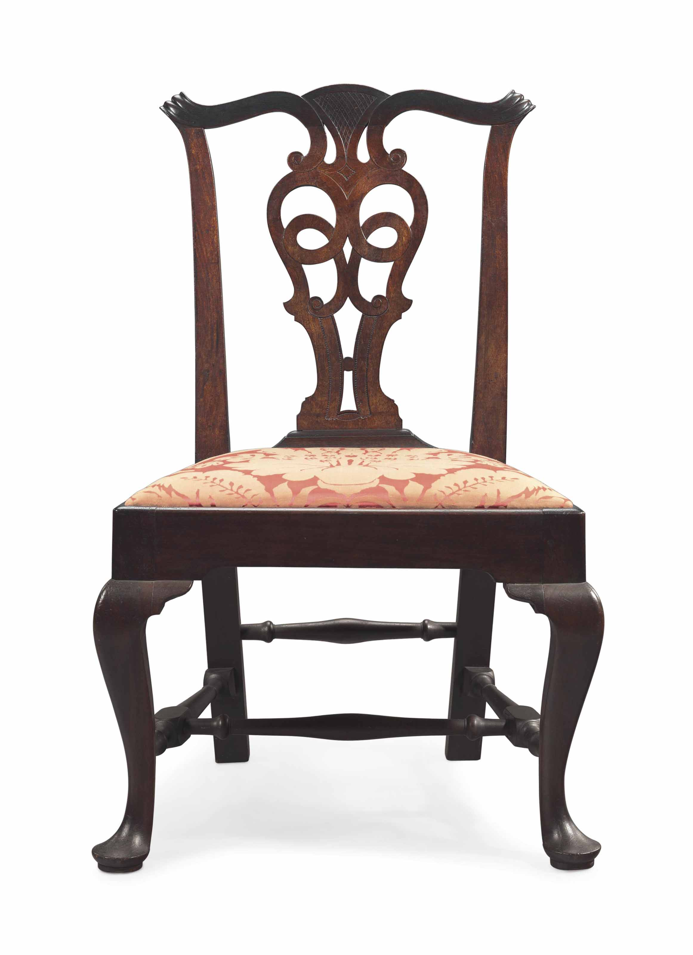 A CHIPPENDALE CARVED MAHOGANY SIDE CHAIR