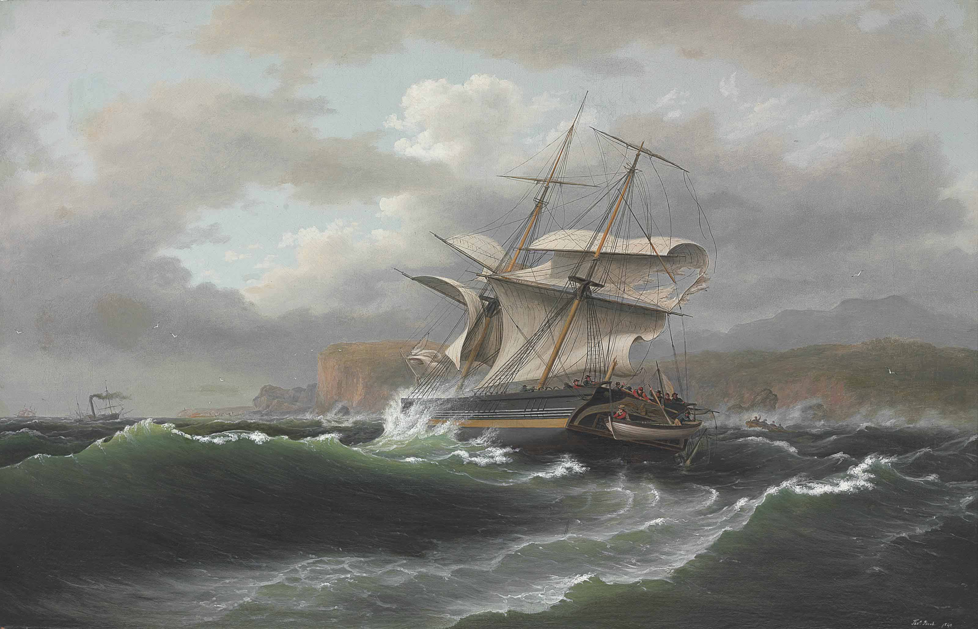 American Merchant Ship in Distress
