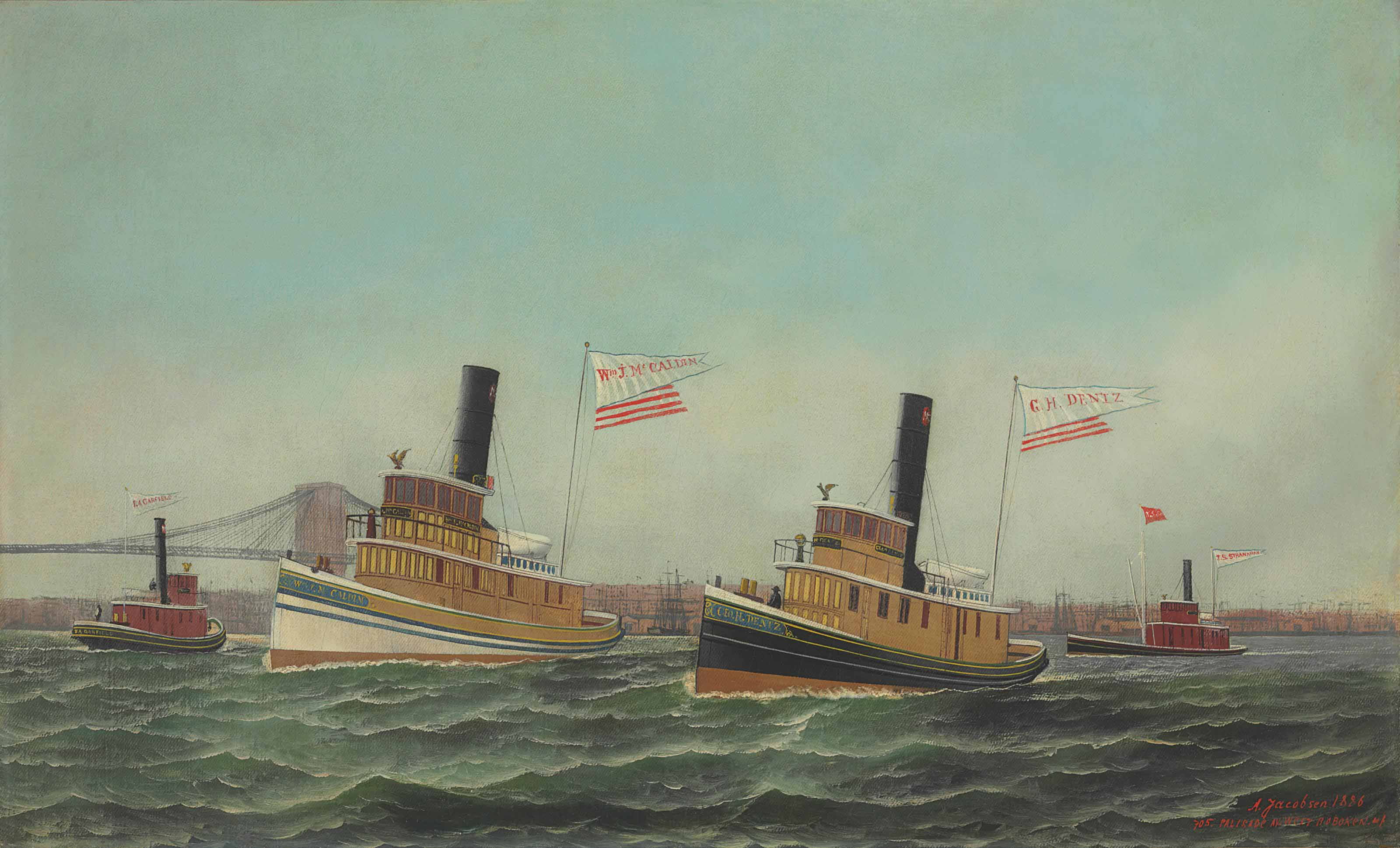 The Tugboats of WM. J. McCaldin, G.H. Dentz and J.S. Stranahan in the East River, South of the Brooklyn Bridge