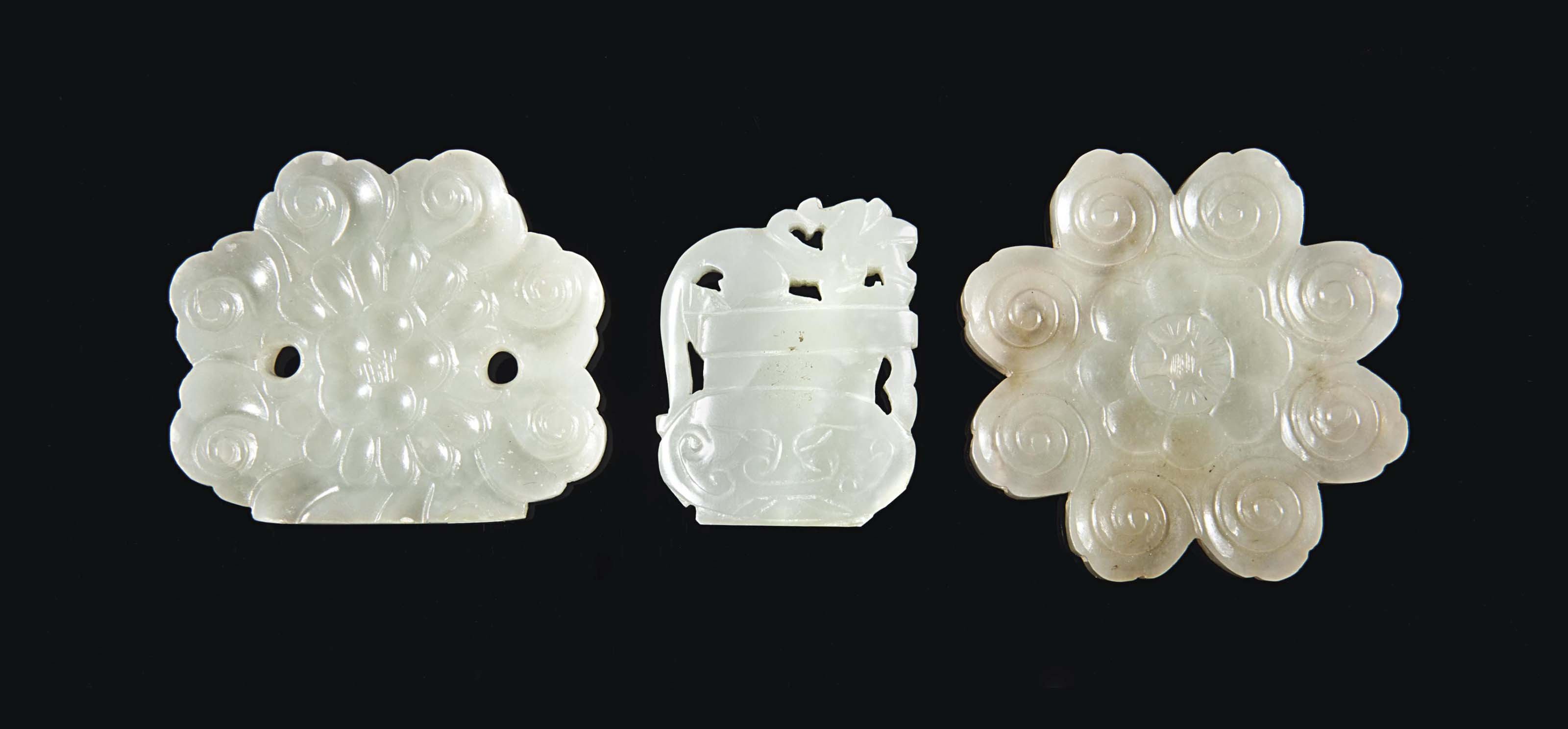A Pale Greenish White Jade Flower Form Plaque Yuan Dynasty 1279