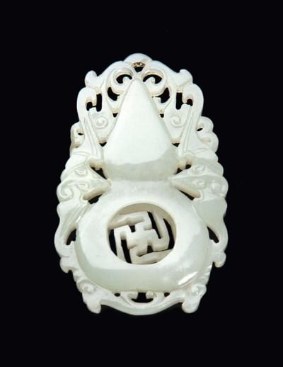 A CHINESE GREYISH-WHITE JADE P