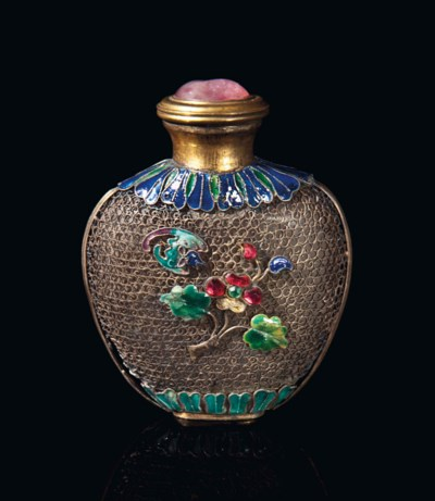 A CHINESE ENAMEL AND GLASS-EMB