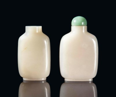 TWO CHINESE WHITE JADE SNUFF B