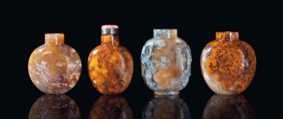 FOUR CHINESE 'MOSS' AGATE SNUF