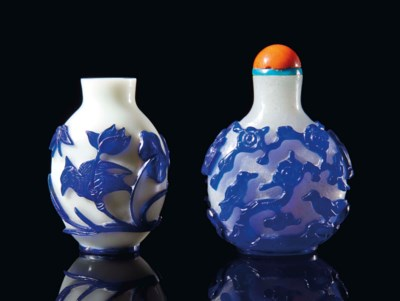 TWO CHINESE BLUE-OVERLAY GLASS
