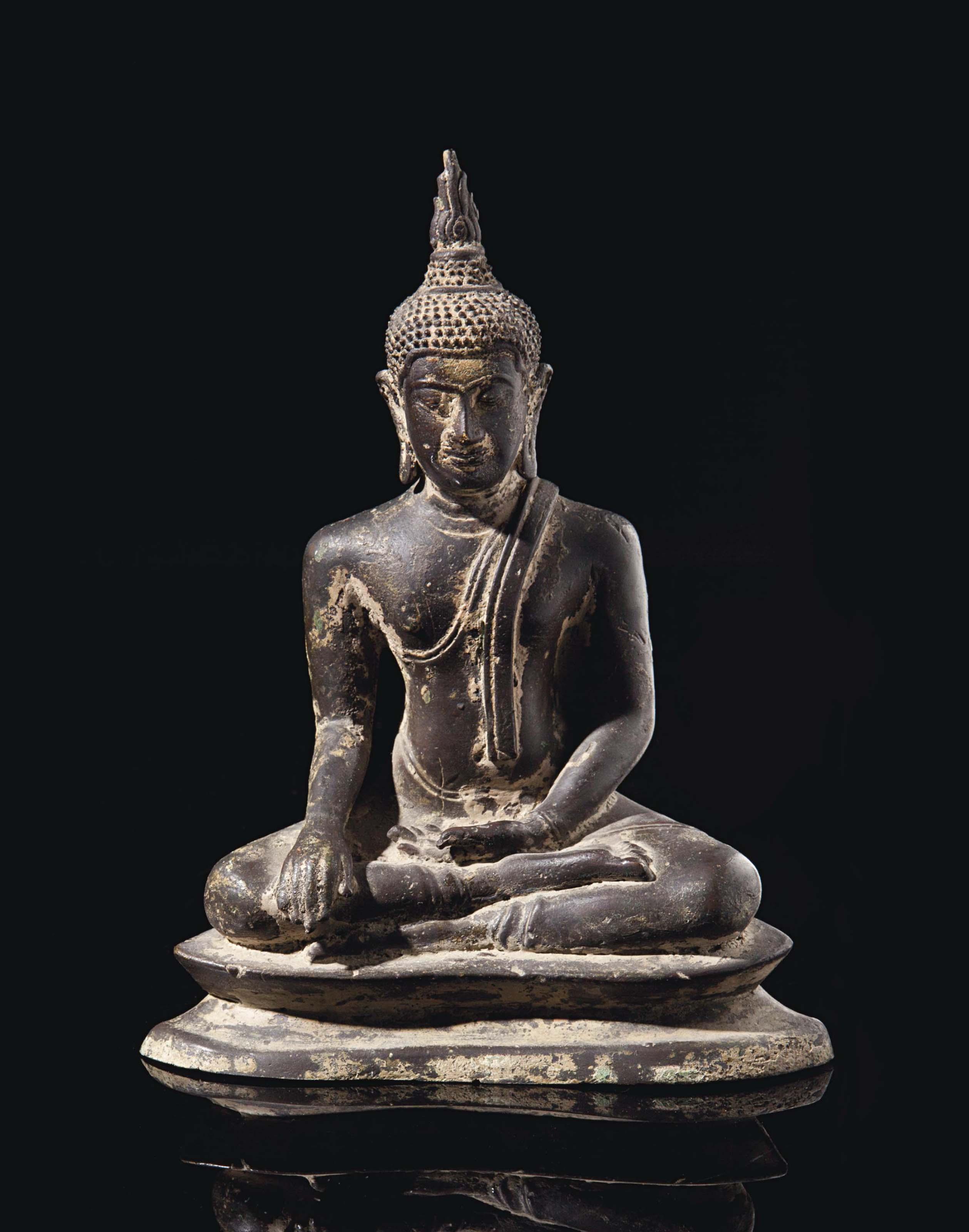 A BRONZE AYUTTAYA-STYLE SEATED FIGURE OF BUDDHA,