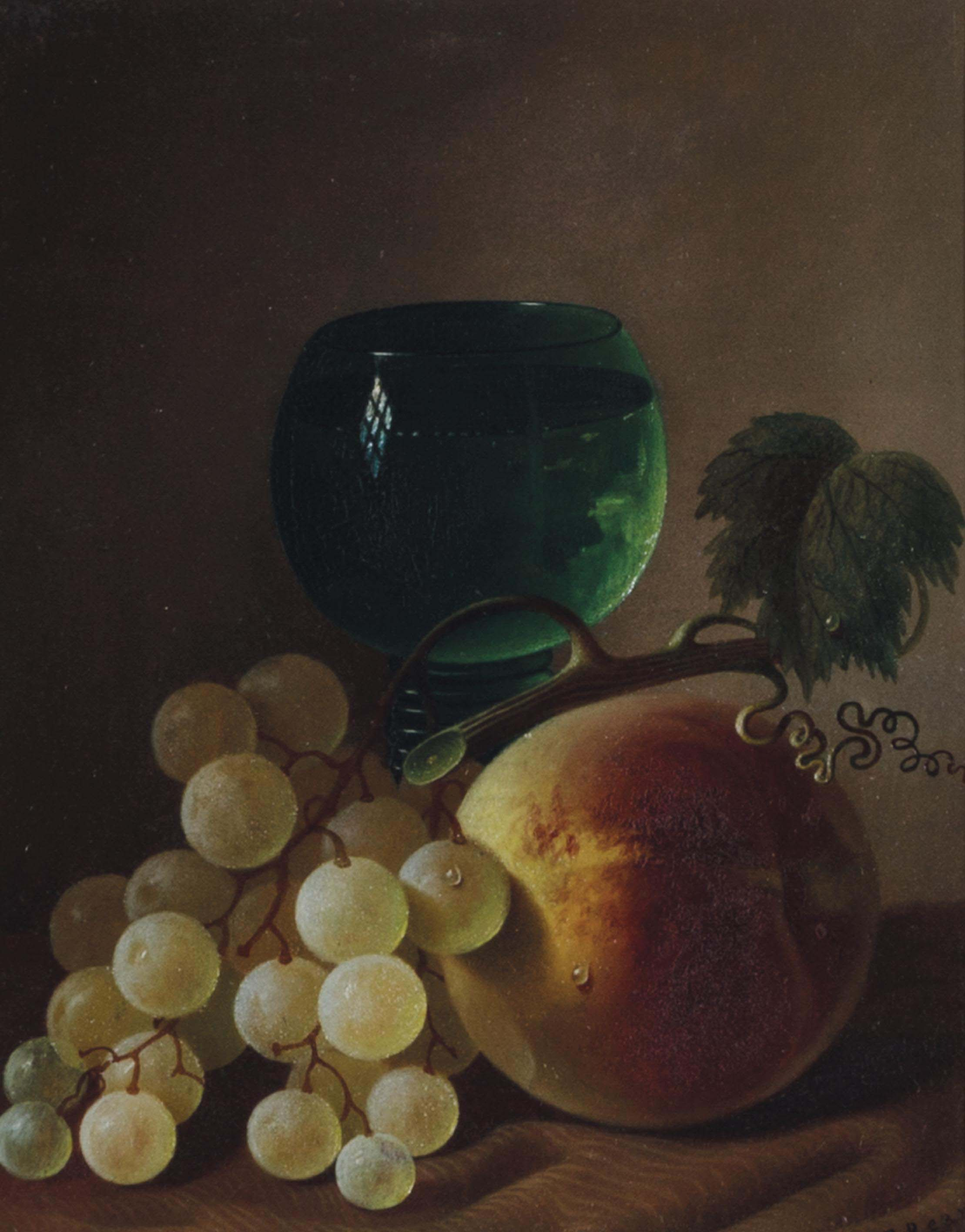 Still life with grapes, peach and wine glass