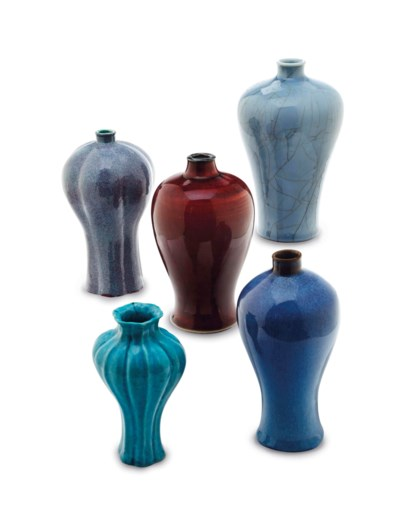 FOUR CHINESE MEIPING VASES,