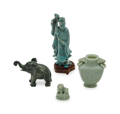 A GROUP OF CHINESE HARDSTONE O