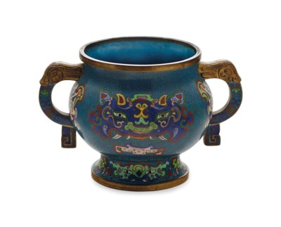 A CHINESE CLOISONNE ENAMEL TWO