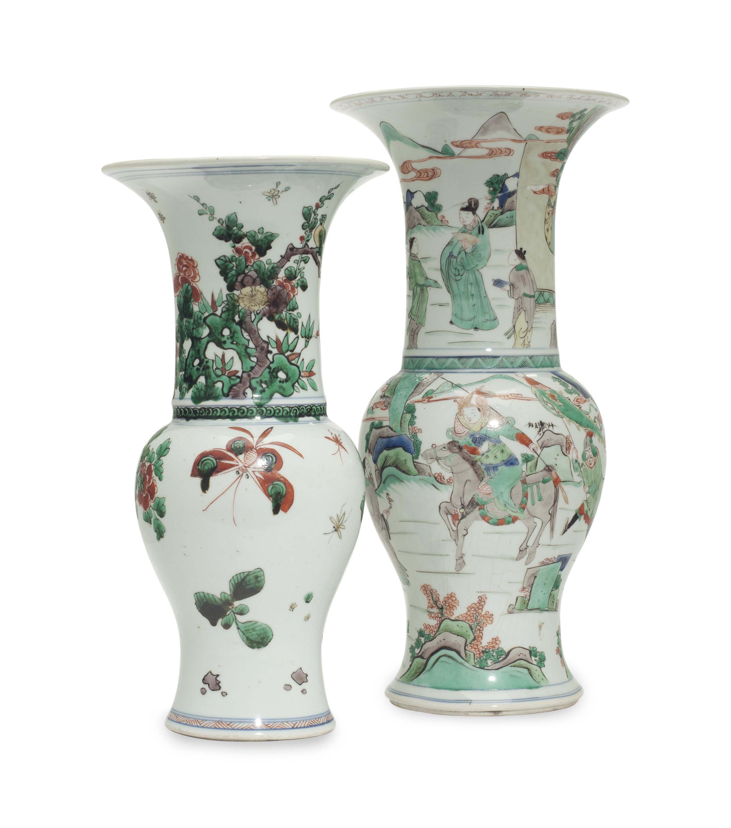 TWO CHINESE FAMILLE VERTE 'PHOENIX-TAIL' VASES,