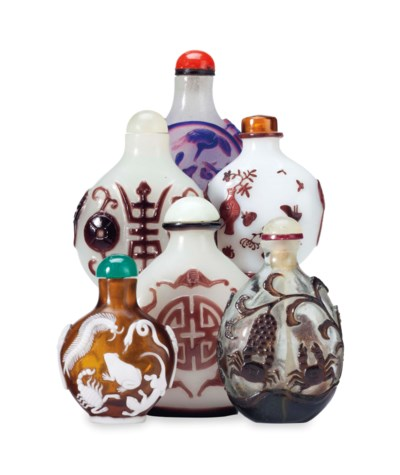 A GROUP OF SIX OVERLAY GLASS S