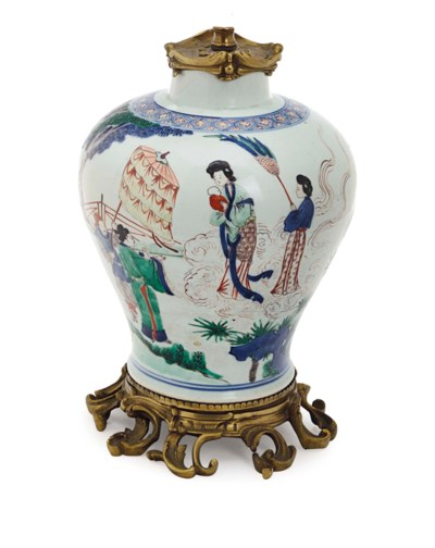 A CHINESE PORCELAIN 'CLOBBERED