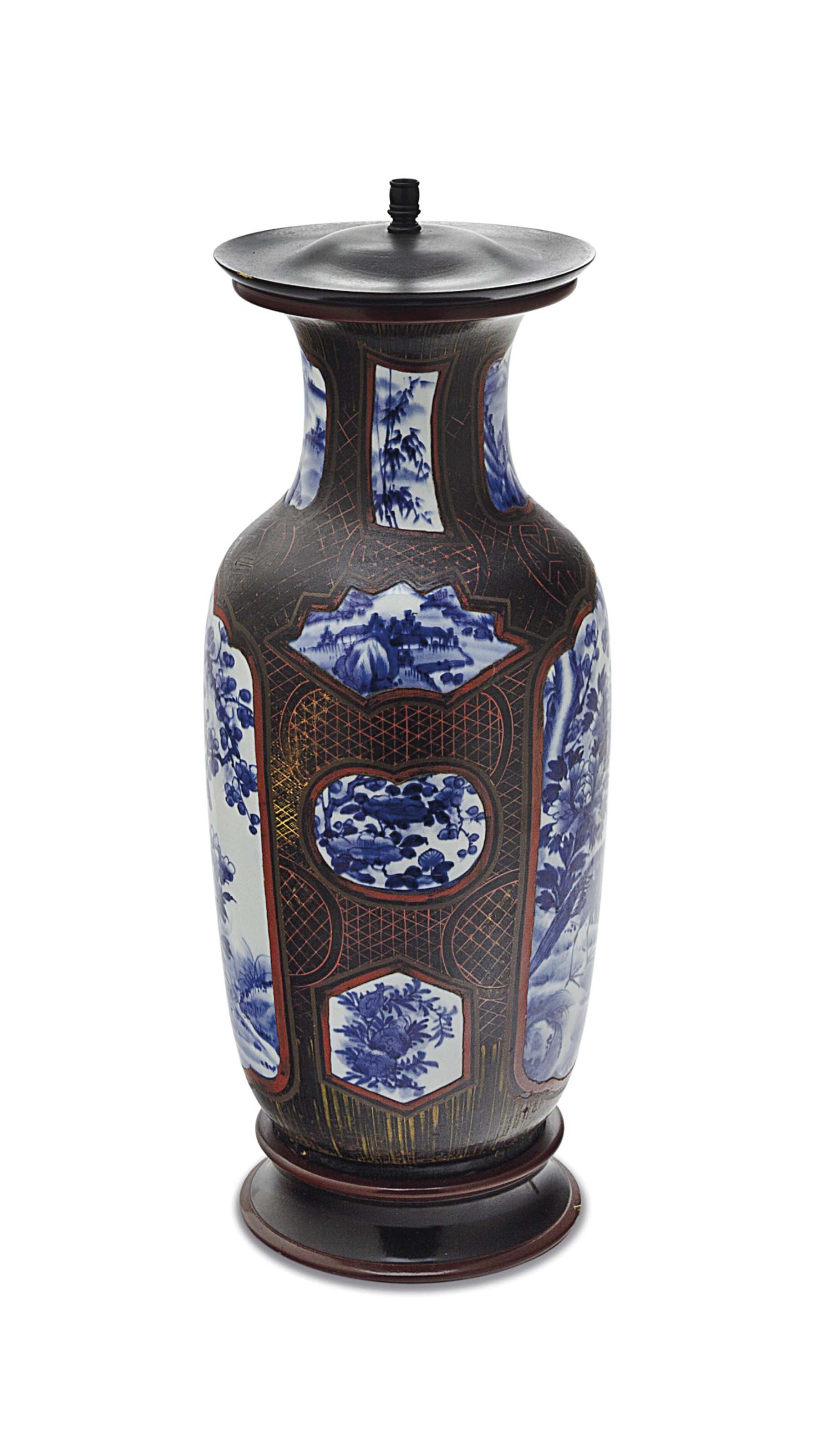 A LATER PAINTED CHINESE BLUE AND WHITE PORCELAIN VASE, MOUNTED AS A LAMP,