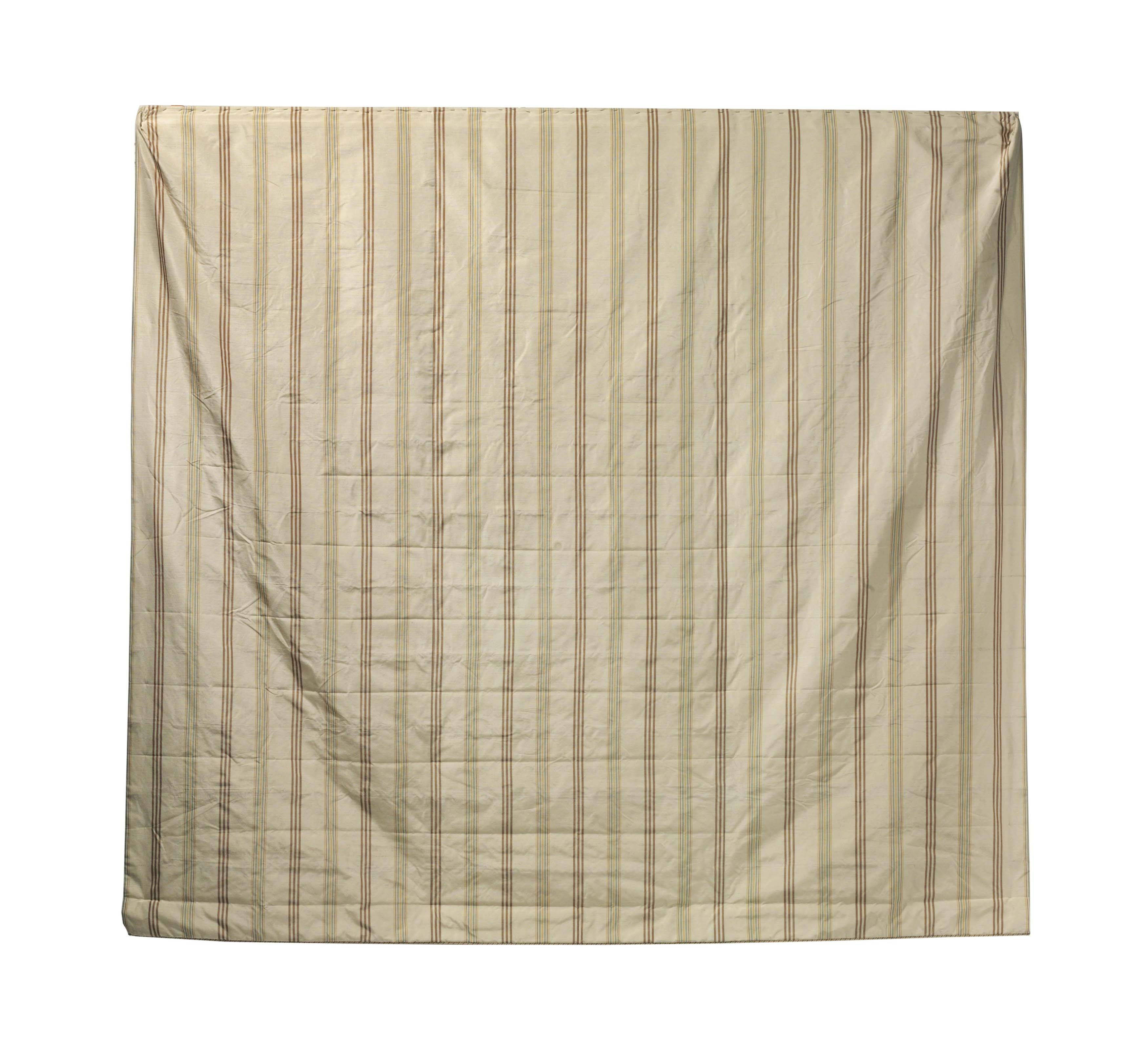 A GROUP OF SEVEN CREAM AND TAUPE STRIPED SILK CURTAIN PANELS.