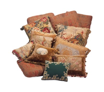 A GROUP OF EIGHT TAPESTRY AND