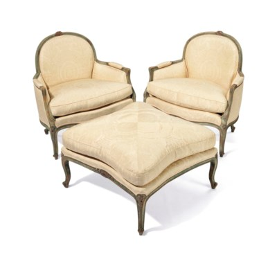 A PAIR OF LOUIS XV STYLE GREEN