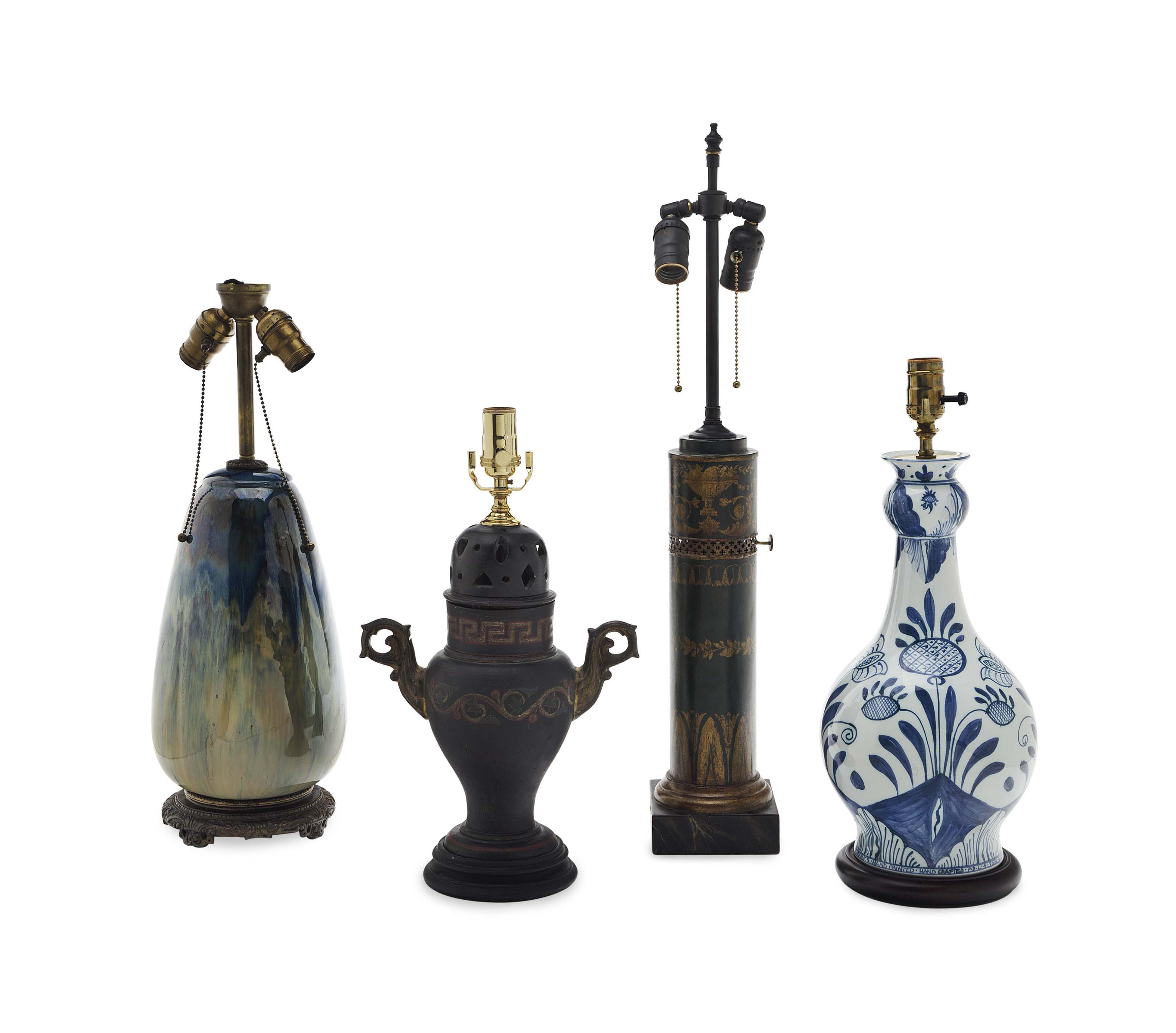 A SET OF FOUR TABLE LAMPS,