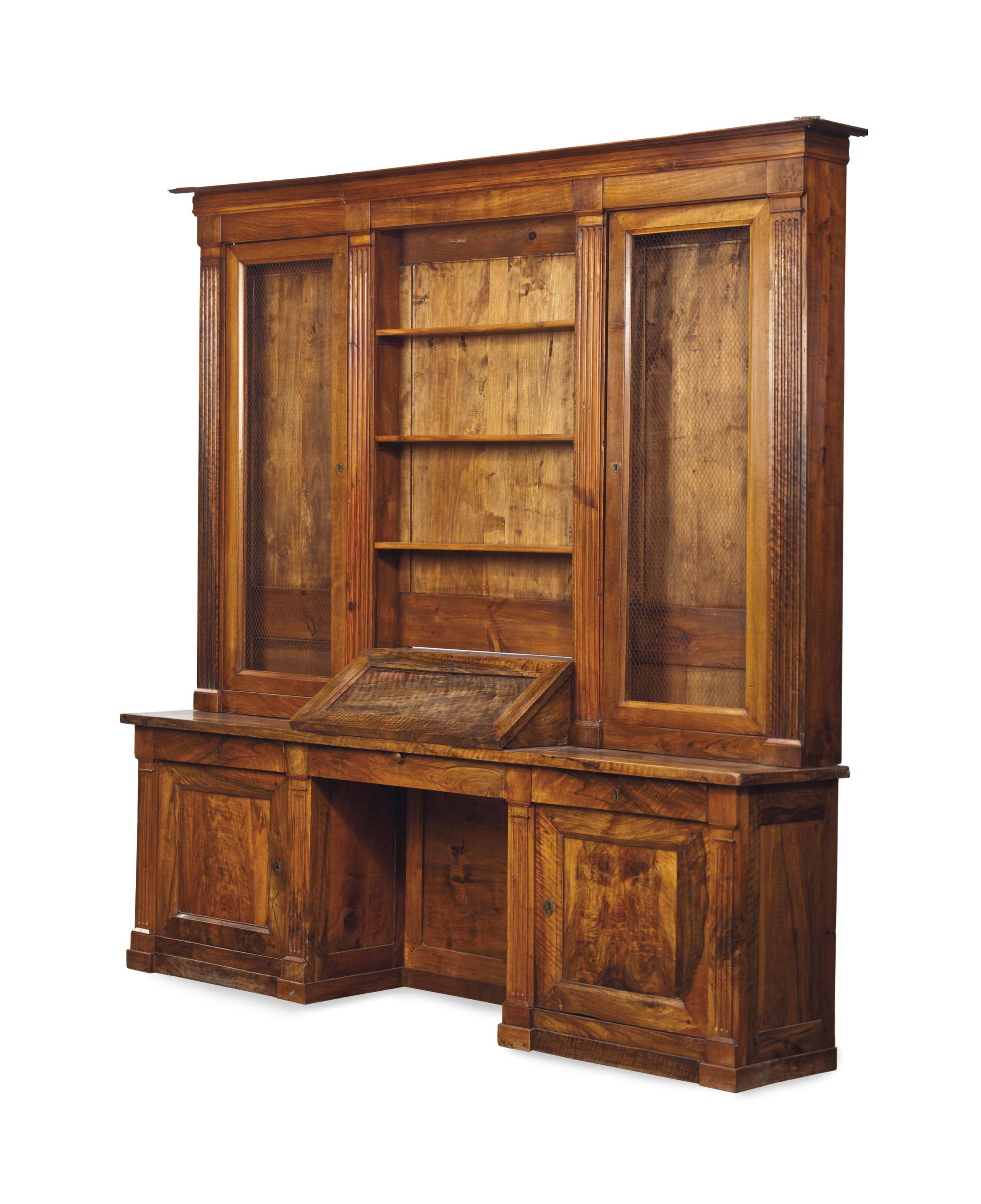 A FRENCH OLIVEWOOD AND WALNUT SECRETAIRE BOOKCASE,