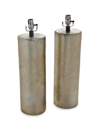 A PAIR OF SILVERED CYLINDRICAL
