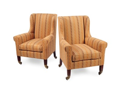A PAIR OF WINGBACK ARMCHAIRS,