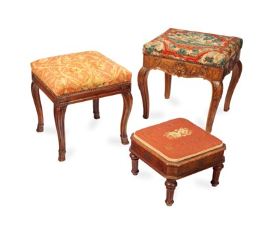 A GROUP OF THREE TABOURET WITH