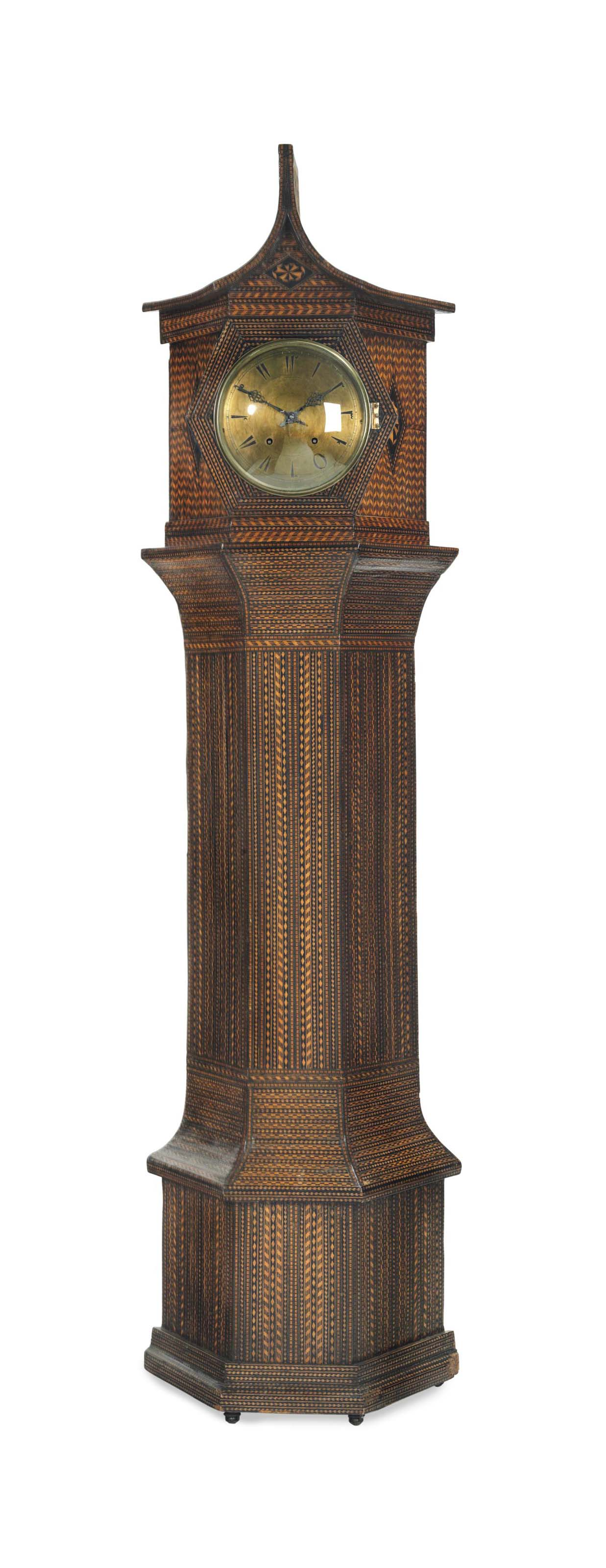 AN EBONIZED AND FRUITWOOD MARQUETRY TALLCASE CLOCK,