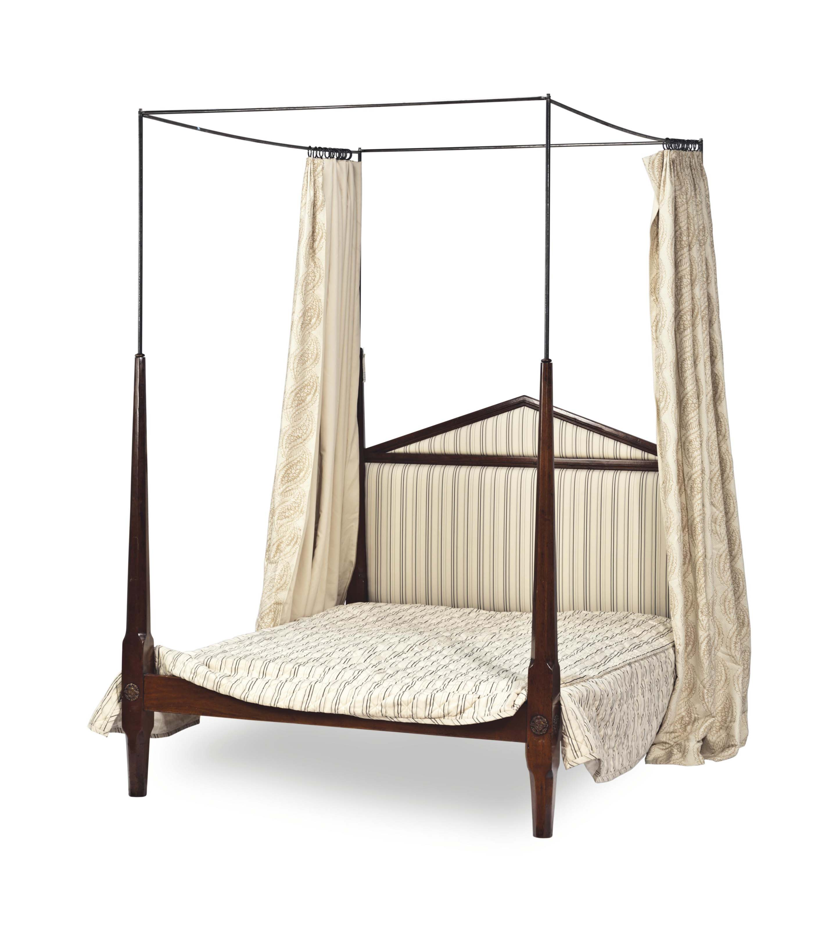 A FRENCH FRUITWOOD BED WITH A STEEL CANOPY,