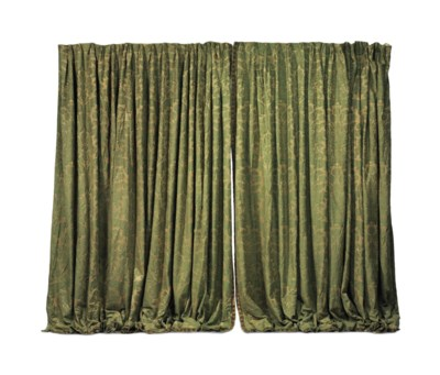 A PAIR OF GREEN DAMASK CURTAIN