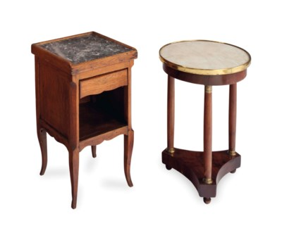 TWO FRENCH SIDE TABLES,