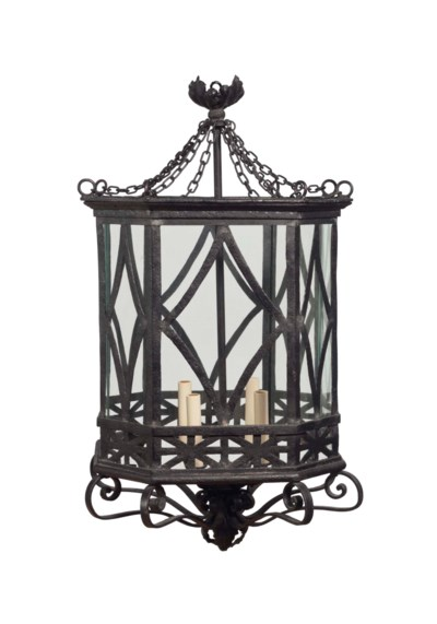 A BLACK-PAINTED WROUGHT IRON O