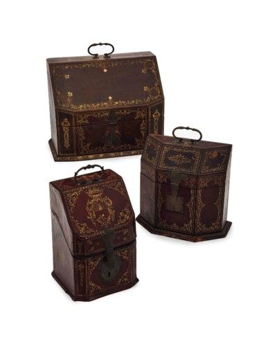 THREE GILT AND TOOLED LEATHER