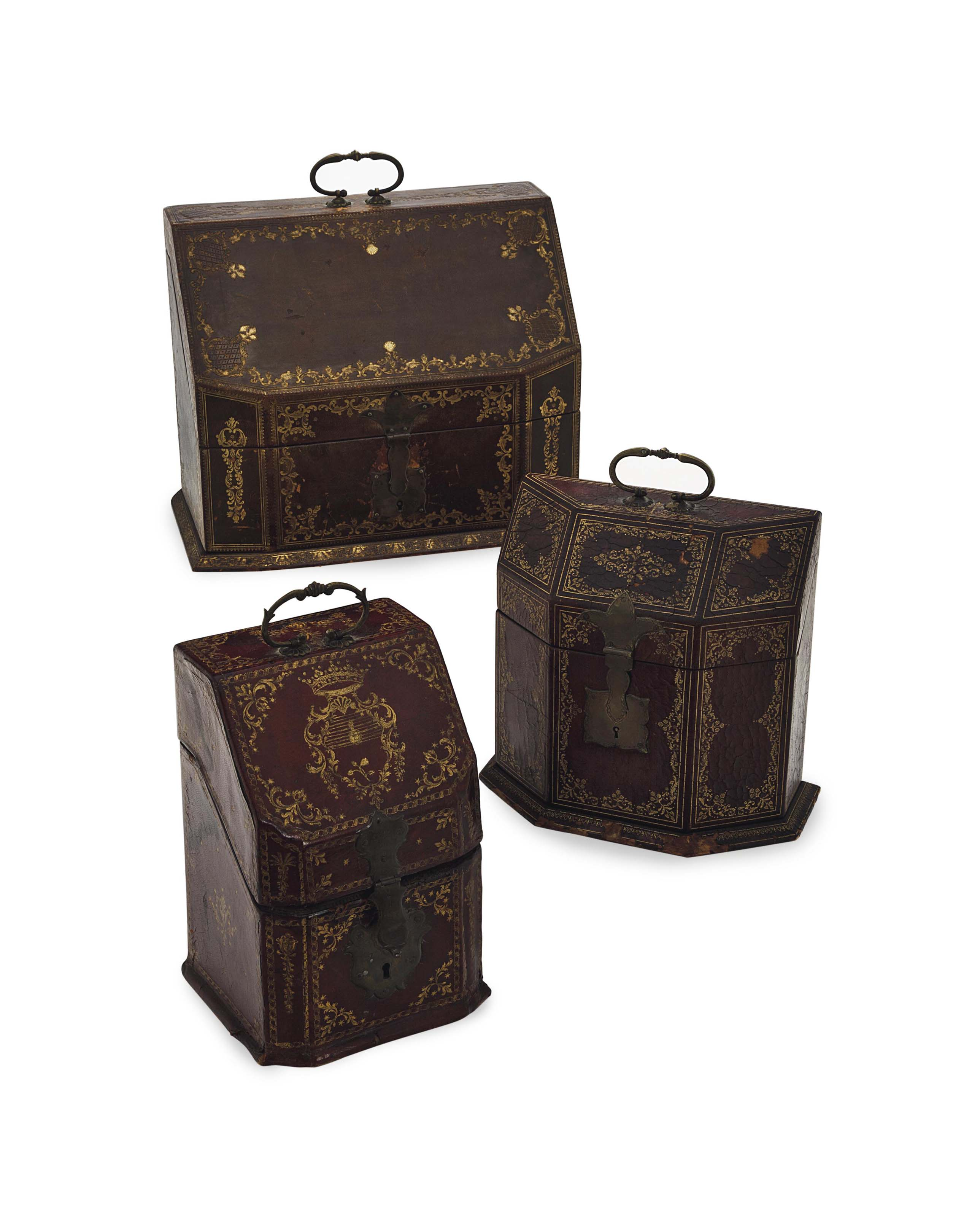 THREE GILT AND TOOLED LEATHER BOXES,