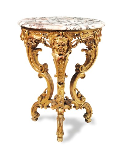 A LOUIS XV STYLE GILTWOOD MARB