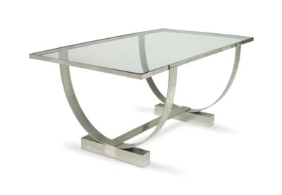 A CHROMED METAL AND GLASS LOW