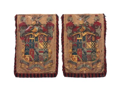 A PAIR OF ENGLISH PAINTED SILK