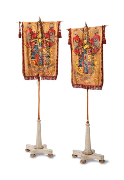 A PAIR OF PAINTED SILK ARMORIA