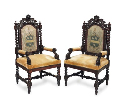 A PAIR OF OAK OPEN ARMCHAIRS,