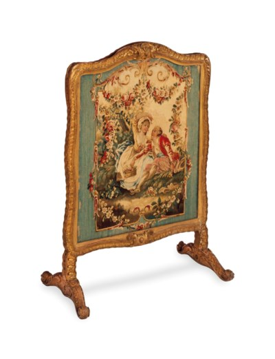 A FRENCH GILTWOOD AND TAPESTRY