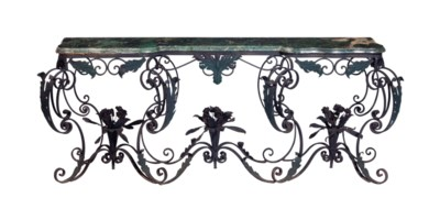 A WROUGHT IRON AND TOLE PEINTE