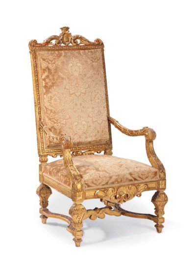 A LOUIS XIII STYLE GILTWOOD HI