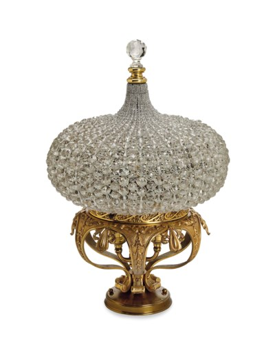 A FRENCH ORMOLU AND GLASS LANT
