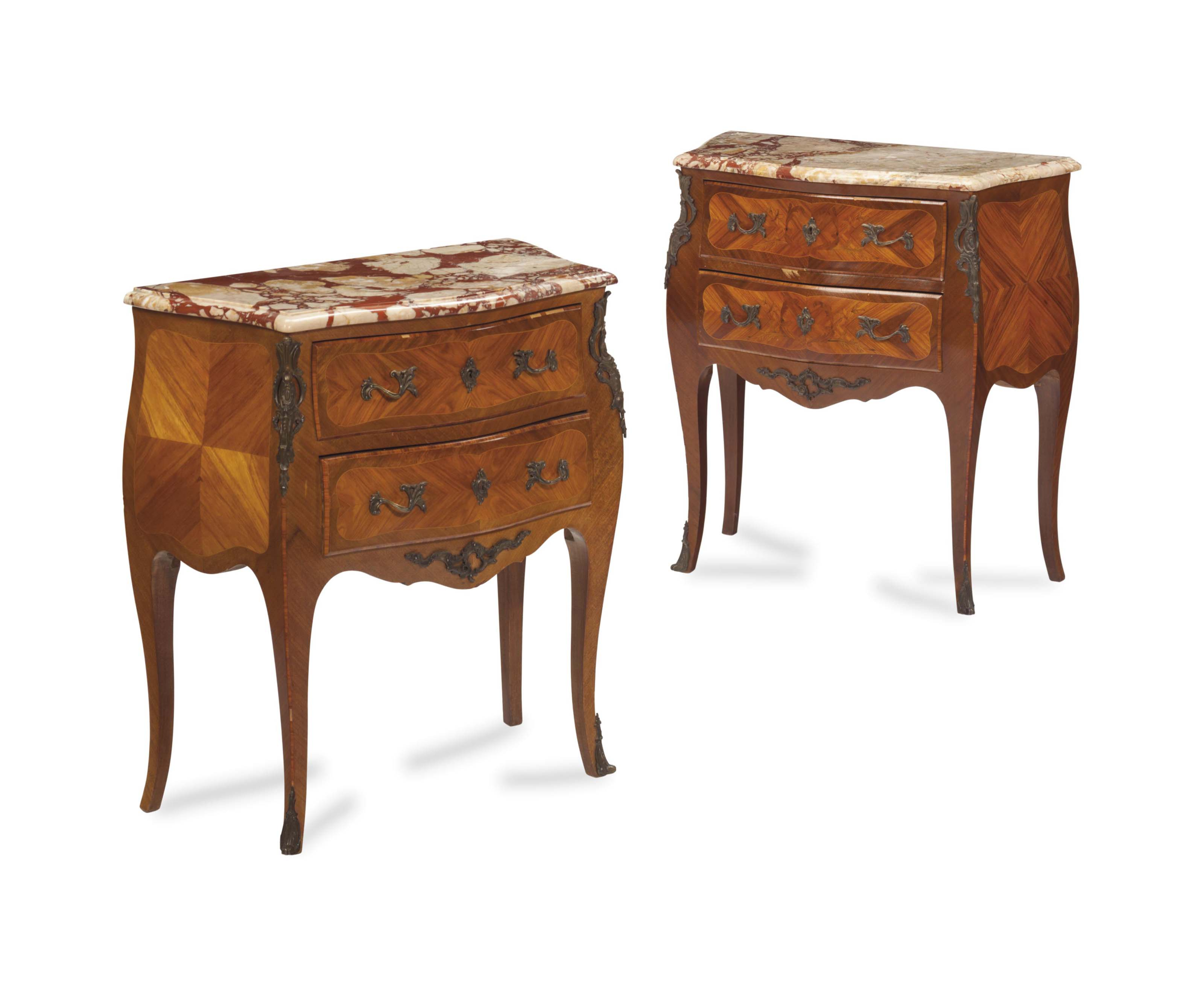 A PAIR OF LOUIS XV STYLE GILT METAL-MOUNTED TULIPWOOD MARQUETRY MARBLE-TOP PETIT COMMODES,
