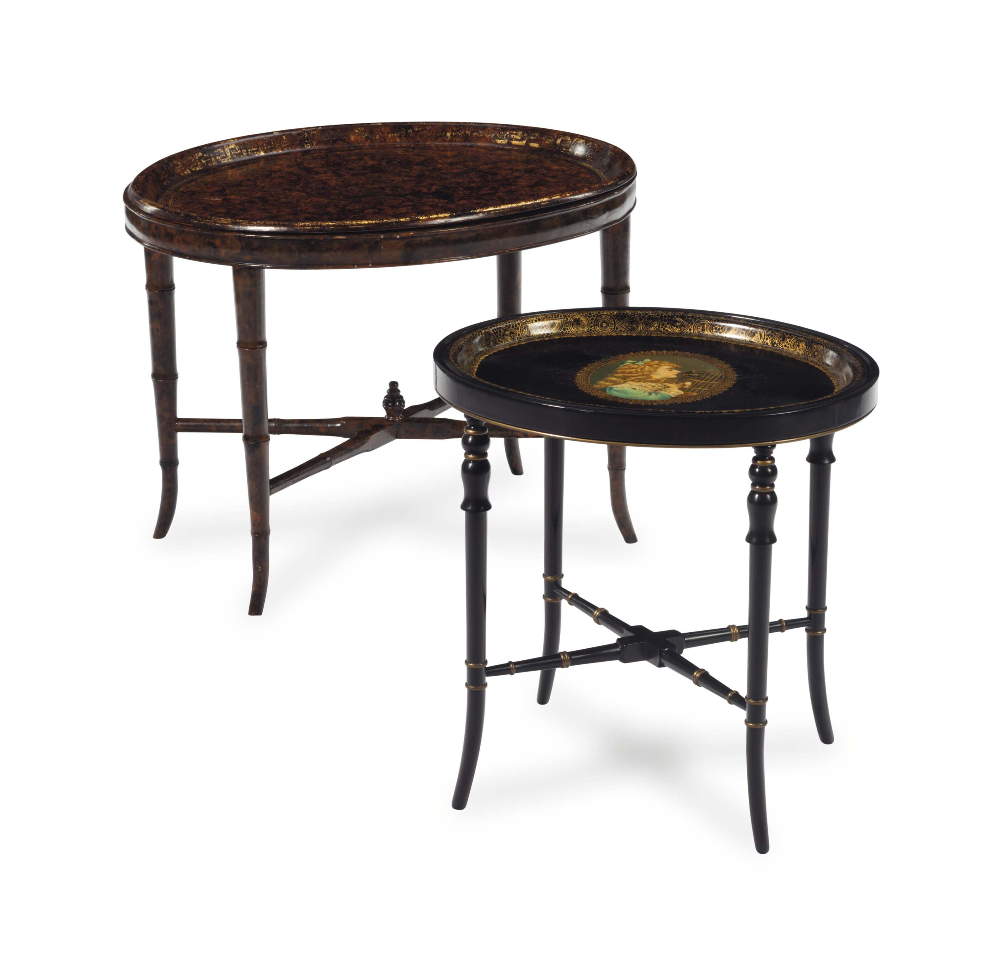 A VICTORIAN PAPIER MACHE FAUX BOIS-DECORATED TRAY ON STAND, AND A CONTINENTAL TOLE PEINTE TRAY ON LATER BLACK-PAINTED STAND