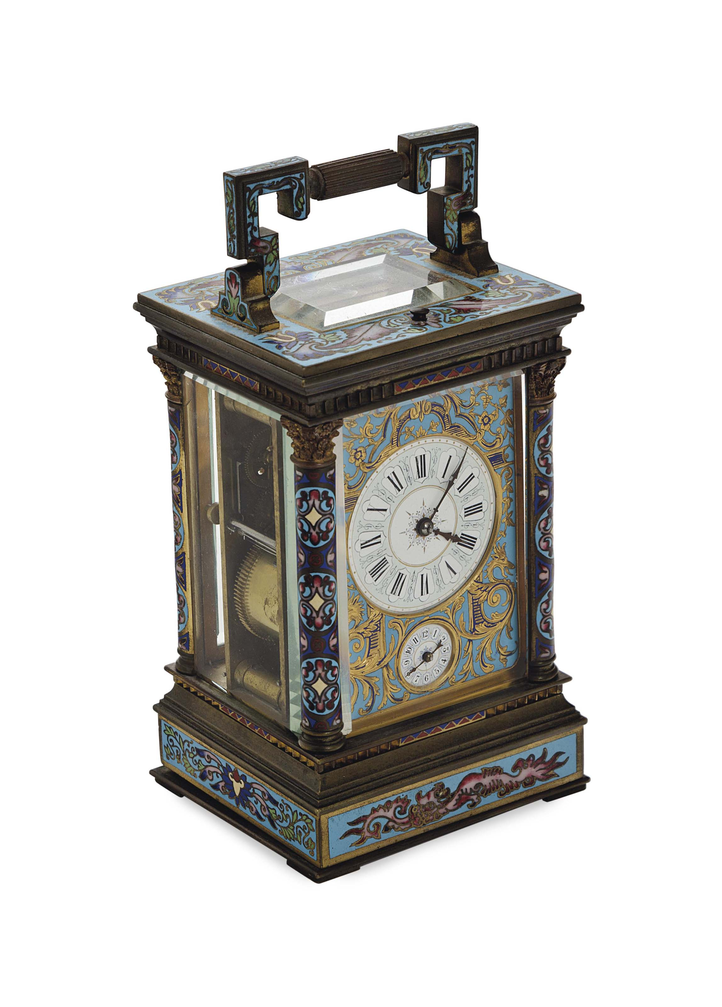 A FRENCH ORMOLU AND CLOISONNE ENAMEL CARRIAGE CLOCK,