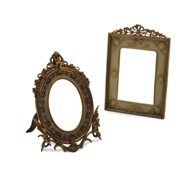 TWO FRENCH ORMOLU PICTURE FRAM