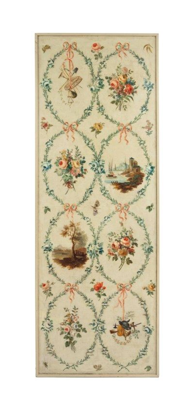 A FRENCH PAINTED CANVAS PANEL,