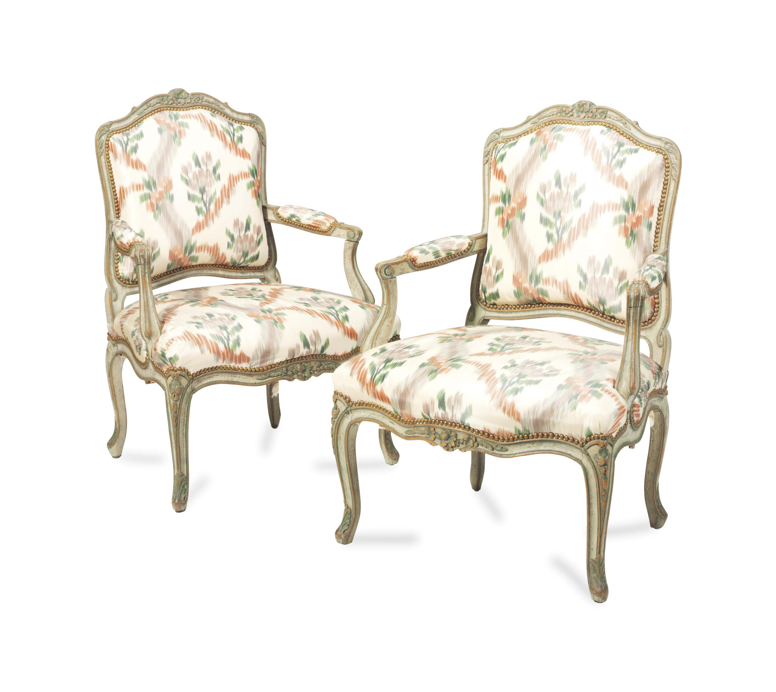 A PAIR OF FRENCH GREEN AND GREY-PAINTED FAUTEUILS,