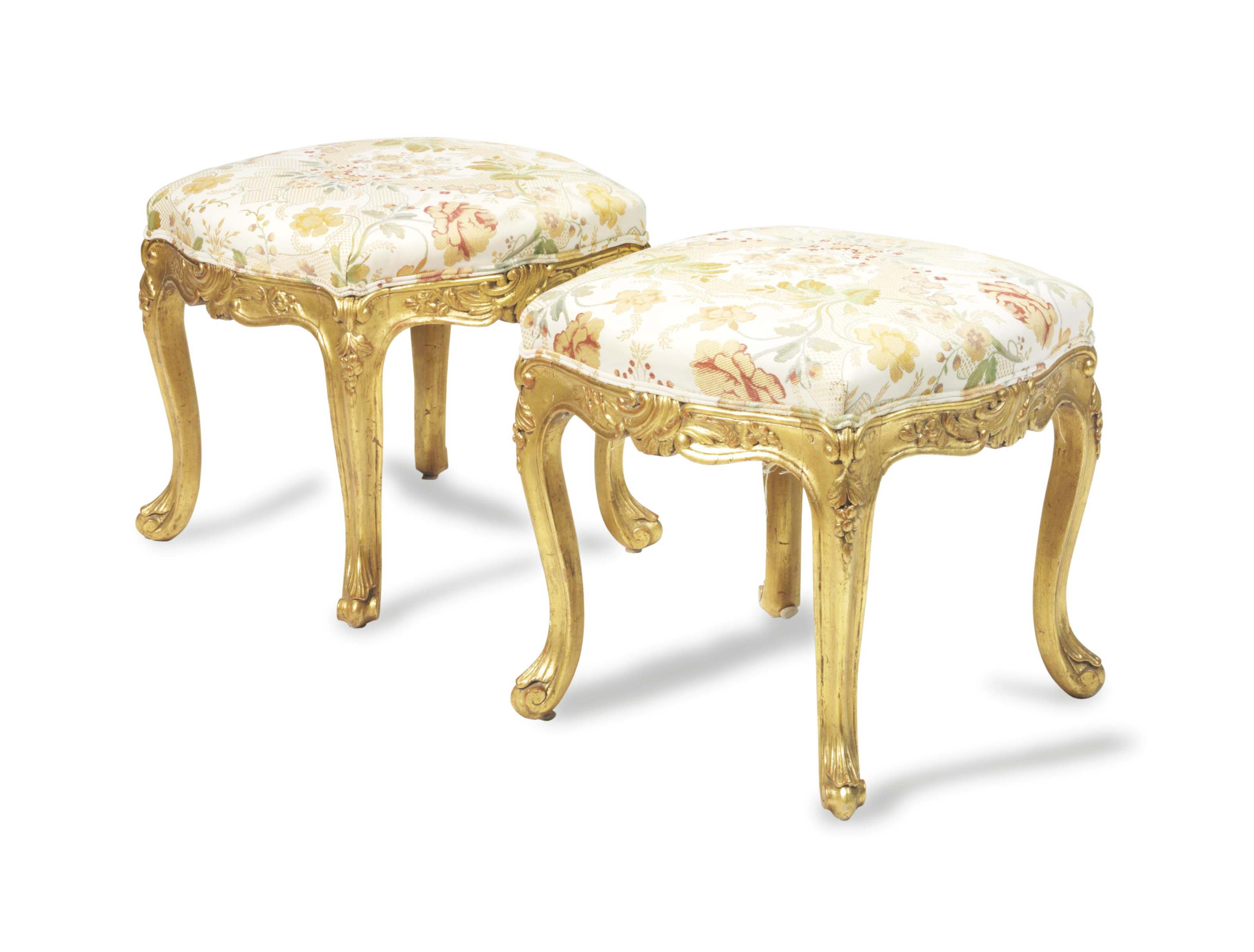 A PAIR OF FRENCH GILTWOOD TABOURETS,