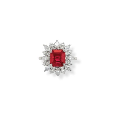 A RUBY AND DIAMOND RING, BY HE